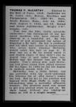 1950 Callahan Hall of Fame #53  Tommy McCarthy  Back Thumbnail