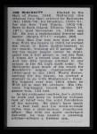 1950 Callahan Hall of Fame #54  Iron Man McGinnity  Back Thumbnail