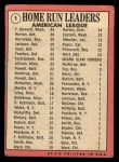 1969 Topps #5   -  Frank Howard / Willie Horton / Ken Harrelson AL HR Leaders   Back Thumbnail