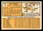 1963 Topps #378  Bill Henry  Back Thumbnail