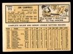 1963 Topps #373  Jim Campbell  Back Thumbnail