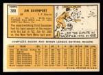 1963 Topps #388 xTOU Jim Davenport  Back Thumbnail