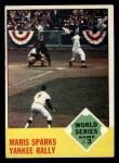 1963 Topps #144   -  Roger Maris / Elston Howard / Ed Bailey 1962 World Series - Game #3 - Maris Sparks Yankee Rally Front Thumbnail