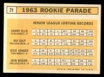 1963 Topps #29 COR  -  Sammy Ellis / Ray Culp / John Boozer / Jesse Gonder  Rookies Back Thumbnail