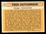 1963 Topps #422  Fred Hutchinson  Back Thumbnail