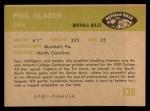 1961 Fleer #139  Phil Blazer  Back Thumbnail