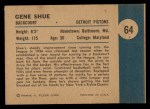 1961 Fleer #64   -  Gene Shue In Action Back Thumbnail