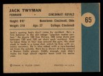 1961 Fleer #65   -  Jack Twyman In Action Back Thumbnail