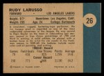 1961 Fleer #26  Rudy LaRusso  Back Thumbnail