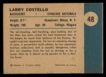 1961 Fleer #48   -  Larry Costello In Action Back Thumbnail