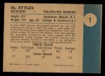 1961 Fleer #1  Al Attles  Back Thumbnail