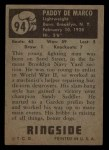 1951 Topps Ringside #94  Paddy Demarco  Back Thumbnail