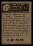 1951 Topps Ringside #3  Jake LaMotta  Back Thumbnail