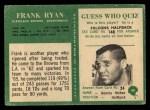 1966 Philadelphia #49  Frank Ryan  Back Thumbnail