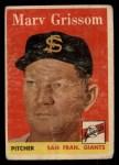 1958 Topps #399  Marv Grissom  Front Thumbnail