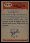 1955 Bowman #119  Frank Gatski  Back Thumbnail