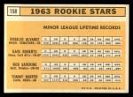 1963 Topps #158   -  Tommy Harper / Rogelio Alvarez / Dave Roberts / Bob Saverine Rookies   Back Thumbnail