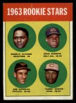 1963 Topps #158   -  Rogelio Alvarez / Dave Roberts / Tommy Harper / Bob Saverine Rookies   Front Thumbnail