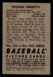 1952 Bowman #124  Birdie Tebbetts  Back Thumbnail