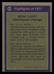 1972 Topps #265   -  Ron Yary All-Pro Back Thumbnail