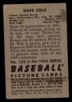 1952 Bowman #132  Dave Cole  Back Thumbnail