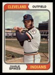 1974 Topps #58  Charlie Spikes  Front Thumbnail