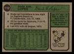 1974 Topps #112  Davey Lopes  Back Thumbnail