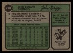1974 Topps #218  Johnny Briggs  Back Thumbnail
