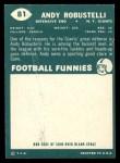 1960 Topps #81  Andy Robustelli  Back Thumbnail