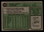 1974 Topps #62  Bob Locker  Back Thumbnail