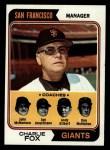 1974 Topps #78   -  Charlie Fox / Joe Amalfitano / Andy Gilbert / Don McMahon / John McNamara Giants Leaders Front Thumbnail