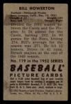 1952 Bowman #119  Bill Howerton  Back Thumbnail