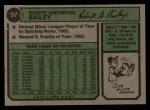 1974 Topps #97  Bob Bailey  Back Thumbnail