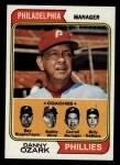 1974 Topps #119   -  Danny Ozark / Carroll Beringer / Bill DeMars / Ray Ripplemeyer / Bobby Wine Phillies Leaders  Front Thumbnail