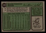 1974 Topps #120  Wilbur Wood  Back Thumbnail