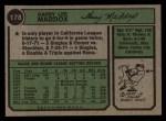 1974 Topps #178  Garry Maddox  Back Thumbnail