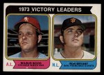 1974 Topps #205   -  Wilbur Wood / Ron Bryant Victory Leaders   Front Thumbnail
