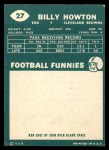 1960 Topps #27  Bill Howton  Back Thumbnail