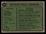 1974 Topps #31   -  Preston Gomez / Roger Craig / Grady Hatton / Hub Kittle / Bob Lillis Astros Leaders Back Thumbnail