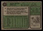 1974 Topps #37  Dave Sells  Back Thumbnail