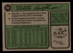1974 Topps #45  Davey Johnson  Back Thumbnail