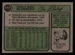 1974 Topps #117  Ron Blomberg  Back Thumbnail