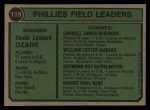 1974 Topps #119   -  Danny Ozark / Carroll Beringer / Bill DeMars / Ray Ripplemeyer / Bobby Wine Phillies Leaders  Back Thumbnail