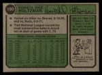 1974 Topps #180  Ken Holtzman  Back Thumbnail