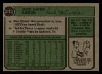 1974 Topps #213  Dave Rader  Back Thumbnail
