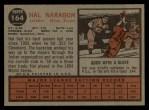 1962 Topps #164 A Hal Naragon  Back Thumbnail