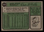 1974 Topps #235  Dave McNally  Back Thumbnail