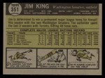 1961 Topps #351  Jim King  Back Thumbnail