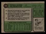 1974 Topps #13  Tom Hilgendorf  Back Thumbnail