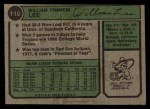 1974 Topps #118  Bill Lee  Back Thumbnail